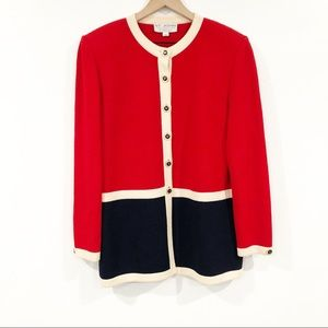 St. John Collection Red And Navy Blue Jacket